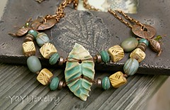 Leaf Necklace - YaY Jewelry (Kristin Oppold / YaY! Jewelry) Tags: modern necklace jewelry earthy organic amazonite bohemian minnestoa urbanchic redcreekjasper yayjewelry kristinoppold