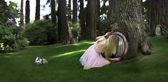 Wanderlust (Lichon photography) Tags: door trees tree rabbit green girl doors alice surreal fantasy imagination hobbit