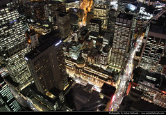 Looking down from the Sydney Tower @ Night, Australia (JH_1982) Tags: new travel travelling tower wales night canon observation eos noche looking nacht south sydney australia down deck observatory nsw australien traveling tamron nuit notte australie 18mm        270mm  60d   sdney