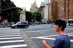 Crossing Columbus. (Rachel Citron) Tags: newyorkcity manhattan tony upperwestside gothamist columbuscircle curbed yarmulke timewarnercenter kippa timeoutnewyork nymag jewishboy newyorkmag
