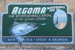 Algoma Mural (joeqc) Tags: lighthouse wisconsin river fishing salmon greatlakes wi algoma ahnapee