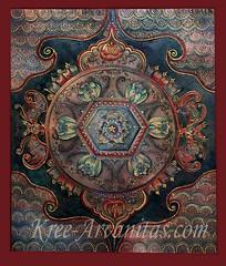 Red Bat Mandala (Rebel Dog Studio) Tags: flowers sun star acrylic mixedmedia teal wave mandala oriental henna bats mehndi peonies 3dimensional kree cracklemedium kreearvanitas redbats orientalbats