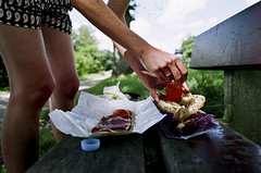 Sand which. (Xavier Roeseler) Tags: colour cheese analog canon bench bread hands picnic legs wine ae1 28mm fingers ham sandwich