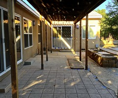 Late Afternoon (tmvissers) Tags: wall concrete construction backyard shadows sandiego bond remodel seating stamped pergola speciality