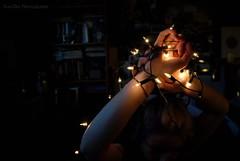 4th December. (Kay-Dee) Tags: light portrait selfportrait girl self vintage dark hair festive photography lights bedroom hands december shadows arms fingers pale christmaslights portraiture fairylights challenge vintagestyle stringlights dyedhair photographychallenge vintagestylephotography