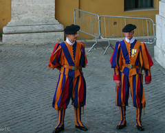 Swiss guards (Tiigra) Tags: 2007 italy rome vatican color dress people portrait road working lazio