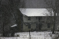 Old Farmhouse (JLBowers) Tags: old trees winter usa house snow mountains abandoned home field farmhouse evening quiet farm tennessee empty country peaceful ridge pasture daytime snowing past snowscene fallingsnow canont31100d jlbowers