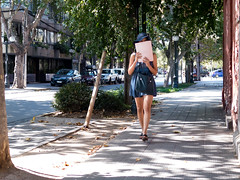 CL Society 334: Walking and reading (francisco_osorio) Tags: street santiago woman girl hat walking reading