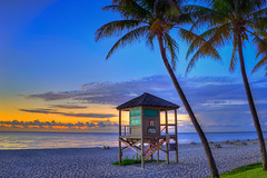 Deerfield-Beach-Sunrise-Broward-County-Florida-Original (gibbsbaum) Tags: ocean sunrise coconut atlantic deerfieldbeach highdynamicrange fishingpier lifeguardtower browardcounty photomatixpro hdrphotography topazplugins captainkimo
