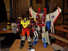 "Customs of ""Rodimus"" and Screamer (ToyPhotos) Tags: cloud toy prime eagle action transformers figure hotrod custom universe autobot masterpiece hasbro decepticon tru starscream rodimus f15 nightstick firebolt thundercracker targetmaster matrixbearer"
