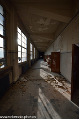sunlit corridor (The Urban Adventure) Tags: school windows abandoned stairs nikon university doors shadows belgium decay brokenglass corridor sigma seats derelict decaying lowepro lectureroom d7100 valbenoit