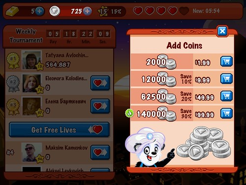 Diamond Dash Virtual currency Bank: screenshots, UI