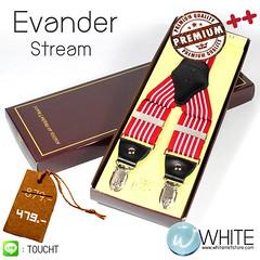 Evander Stream - สายเอี้ยม (Suspenders) สายสีแดง ลายเส้นตรงแดง ขาว ขนาดสาย กว้าง 3.5 เซนติเมตร