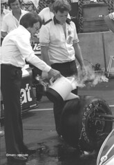 bernie dry ice cpgp 82 (santa cruz graybeard) Tags: people blackandwhite bw glasses parkinglot lasvegas candid f1 racing tires grandprix formulaone marc 1981 caesarspalace autoracing formula1 fia goodyear motorsport dryice toolbox parmalat brabham carracing sproule blackwhitephotos openwheelracing bernieecclestone marcsproule temporarycircuit temporarystreetcircuit motorracingdevelopment
