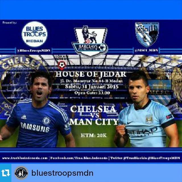 Lokasi Nobar: {Nobar} Chelsea vs M.city /w @BluestroopsMdn & @MCSI_mdn at:house of jedar jalan dr.mansyur htm:20k OG:23:00 we love you chelsea we do #Troopscalling#LestarikanNobar#BiasakanNgechants