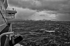 nahe Havøysund ♁71° 0′ N, 24° 39′ O  Windstärke 8 (RadarO´Reilly) Tags: ocean sea bw norway see blackwhite meer waves ship norwegen atlantic sw schiff hurtigruten wellen atlantik northatlantic ozean nordatlantik schwarzweis wogen