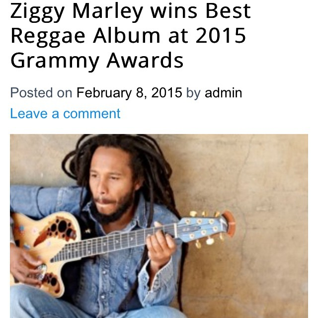 Congrats to Ziggy Marley the winner of the 2015 Reggae Album Grammy. See the complete list of nominates here - http://blogs.jamaicans.com/soapbox #ziggymarley #bobmarley #reggae #jamaica #music #grammys2015 #bestreggaealbum