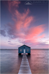 boathouse sunset (Maciek Gornisiewicz) Tags: city sunset seascape clouds canon buildings river landscape photography evening bay swan dusk tripod structures australia filter matilda perth western maciek boatshed crawley 2014 1635mm darkelf gornisiewicz 5diii