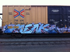 MENK (2ONE5-1981 (S.O.B.A.)) Tags: train graffiti tracks rail boxcar graff bandit westcoast hobo freight moniker americansteel northwestbench fr8heaven