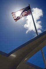 USS Arizona Memorial (sarowen) Tags: hawaii memorial oahu flag americanflag pearlharbor redwhiteandblue starsandstripes oldglory ussarizona honoluluhi ussarizonamemorial honoluluhawaii wwiivalorinthepacificnationalmonument