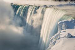 Winter Niagara Dawn (josullivan.59) Tags: travel blue winter light wallpaper white mist snow ontario canada blur detail green texture ice nature fog sunrise dawn niagarafalls frozen waterfall day niagara clear february minimalism artisitic nicelight 3exp canon6d