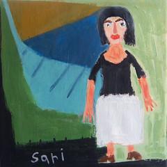 #1313 (sariart2) Tags: original art girl painting acrylic raw folk outsider ooak naive sari primitive childlike azaria noy