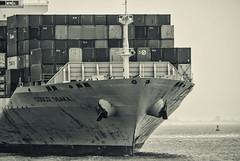 Container Ship Cosco Osaka (PAJ880) Tags: bw boston ma harbor ship container coco bow osaka