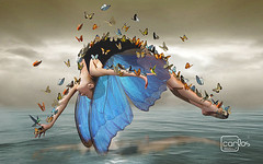 Mulher Borboleta nova (Atelier 2) Tags: gua azul ar mulher ao livre borboletas atelier2