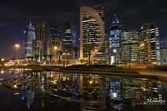 Streets of Doha XI (Alexis Methenitis) Tags: longexposure nightphotography blue winter sky people moon green water night canon reflections day outdoor sony streetphotography moonlight qr doha qatar canonef2470mmf28liiusm metaboneseftoemkiii sonya7rii sonyilce7rm2 sonya7rm2 sonya7rmkii