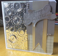 Another birthday card for a man (margaret.pilkington47) Tags: silver handmade masculine card happybirthday cogs sentiment