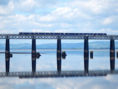 Train reflected (nz_willowherb) Tags: weather reflections scotland fife dundee calm estuary tay lowwater highpressure railbridge wormit