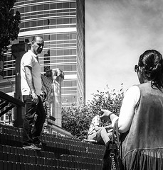 Discussions (TMimages PDX) Tags: street city people urban blackandwhite monochrome buildings portland geotagged photography photo image streetphotography streetscene sidewalk photograph pedestrians pacificnorthwest vignette fineartphotography iphoneography