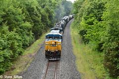 Csx 8 leads a freight up hill in the rain. (Machme92) Tags: railroad rain weather clouds illinois nikon rails ge railroads csx conrail railfanning csxt railfans ac4400 d7200 nikond7200