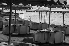 The first one at the beach (mona_dee) Tags: boy beach greece chalkidiki sunbeds porfi