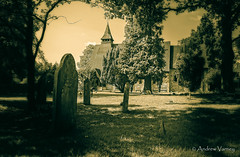 64/366 Rowledge Parish Church (andrew.varney) Tags: church monochrome grave graveyard sepia nikon surrey churchyard aged 365 farnham 366 d5100