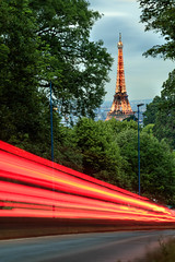 A window to the Eiffel Tower with car lights (Michel Hincker) Tags: eiffel tower canon 80d green light sunset architecture outdoor building city long exposure history cityscape night france