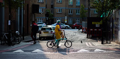 Colour in a Bleak City (JRS-IW-Photography) Tags: road street city uk england colour london bike canon out person photography stand different streetphotography dslr narrative individual obscure foldable 750d
