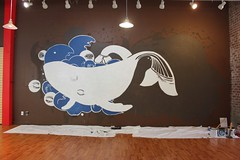 Project Space 2014 (Day Seven) (Boz Schurr) Tags: space design volcano painted project octopus sky fly eruption waves eyes eye line work clouds art association sapce 2014 boz schurr wwwbozschurrcom tentacles timelapse mural murals drawing painting progress lines artwork large sclae installation brown wall artist oregon indoor cartoon roject illustration monochrome swimming swin sea swim ocean
