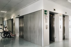 Interior with elevators (ale2000) Tags: white corner hospital grey lift steel interior stock corridor patient ill a6 ascensore lifts stockphotography ospedale corridoio fotomobile paziente vsco