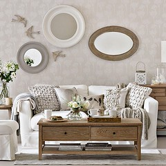 Mirror Collage (Heath & the B.L.T. boys) Tags: wood wallpaper bird mirror books livingroom pillow couch tray drawers cloche