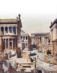Ancient Rome. Recreation of Roman Forum from the 'Casa delle Vestali' // Print by J. Hoffbauer, Paris, 1911 (mike catalonian) Tags: recreation romanforum ancientrome