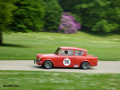 1965 Ford Anglia 105E (BenGPhotos) Tags: red classic ford sports car sport race russell crystal ivan palace racing motor sprint panning motorsport 1965 autosport anglia 2016 105e motorsportatthepalace
