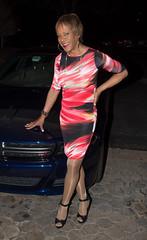 A Nice Car! (kaceycd) Tags: crossdress tg tgirl lycra spandex minidress pantyhose pumps anklestrappumps peeptoepumps opentoepumps highheels stilettoheels sexypumps stilettos s