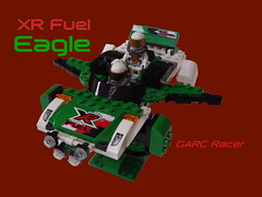 XR Fuel Eagle GARC (Harding Co.) Tags: red white black green sport lights wings lego space engines scifi vehicle spaceship windscreen exhaust garc minifigures