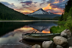 Row, Row, Row Your Boat... (pdxsafariguy) Tags: trees sunset mountain lake reflection clouds oregon forest landscape boat bravo rocks cascades rowboat mounthood trilliumlake tomschwabel