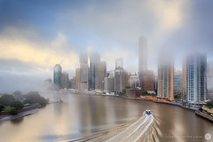 towers in the mist (Luke Tscharke) Tags: morning winter light cold yellow fog ferry cat sunrise reflections river cityscape brisbane calm catamaran tse rivercat tiltshift