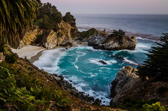 McWay Falls, Big Sur yet again! (BBQ Jim) Tags: ocean california sunset sea cliff usa seascape beach america landscape coast waterfall big sundown pacific cove north falls sur pfeiffer mcway