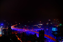 Night view from my Shanghai JW Marriott hotel room. (WorldPixels) Tags: china panorama color colour night marriott shanghai nacht roads