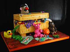 Toy Chest Cake (butterflybakeshop) Tags: nyc newyorkcity cake toy 3d toystory shaped chest bakery pixar teddybear characters themed rubberduck boardgames mrpotato customcake butterflybakeshop
