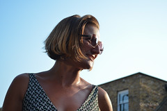 British Heatwave Portrait 2 (Sven's extras (sven loach)) Tags: uk summer portrait england woman london smile sunglasses bronze britain candid tan highlights heat streaks dalston lateafternoon heatwave sleeveless 2013